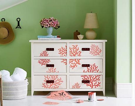 Red Coral Stencil Dresser Makeover