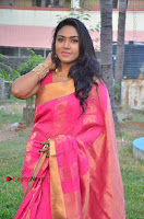 Actress Risha Pos in Pink Silk Saree at Saravanan Irukka Bayamaen Tamil Movie Press Meet  0009.jpg