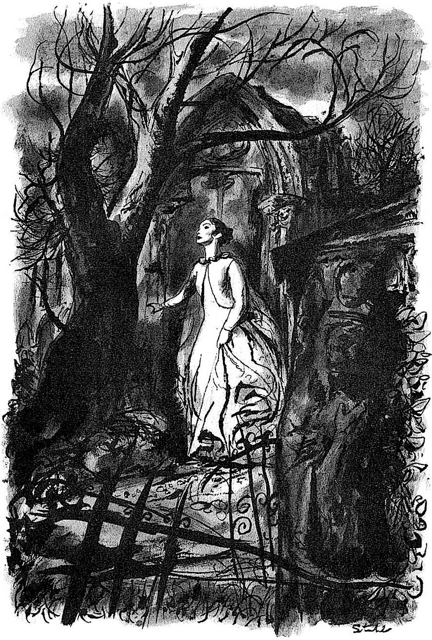a Ben Stahl illustration 1962, a ghostly woman in a cemetary at night
