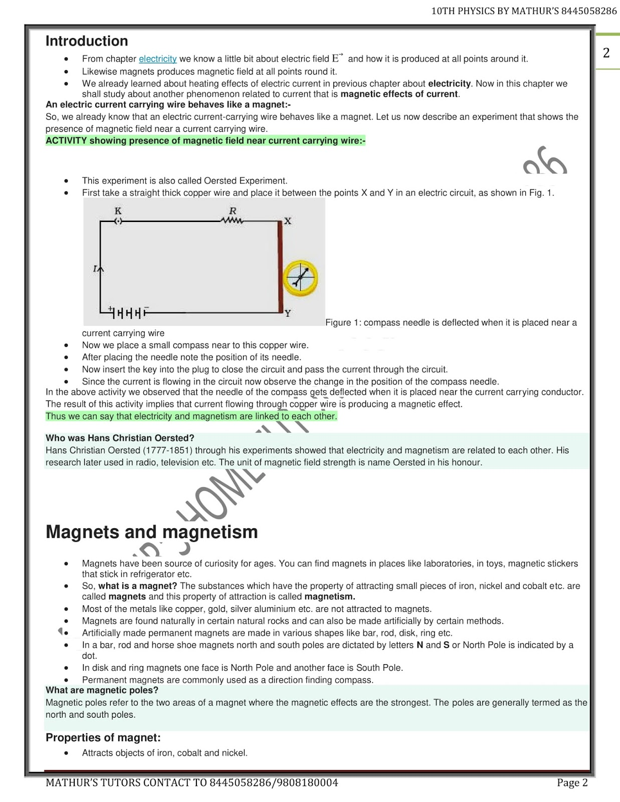 Class 10 Physics Notes MAGNETIC EFFECT OF ELECTRIC CURRENT
