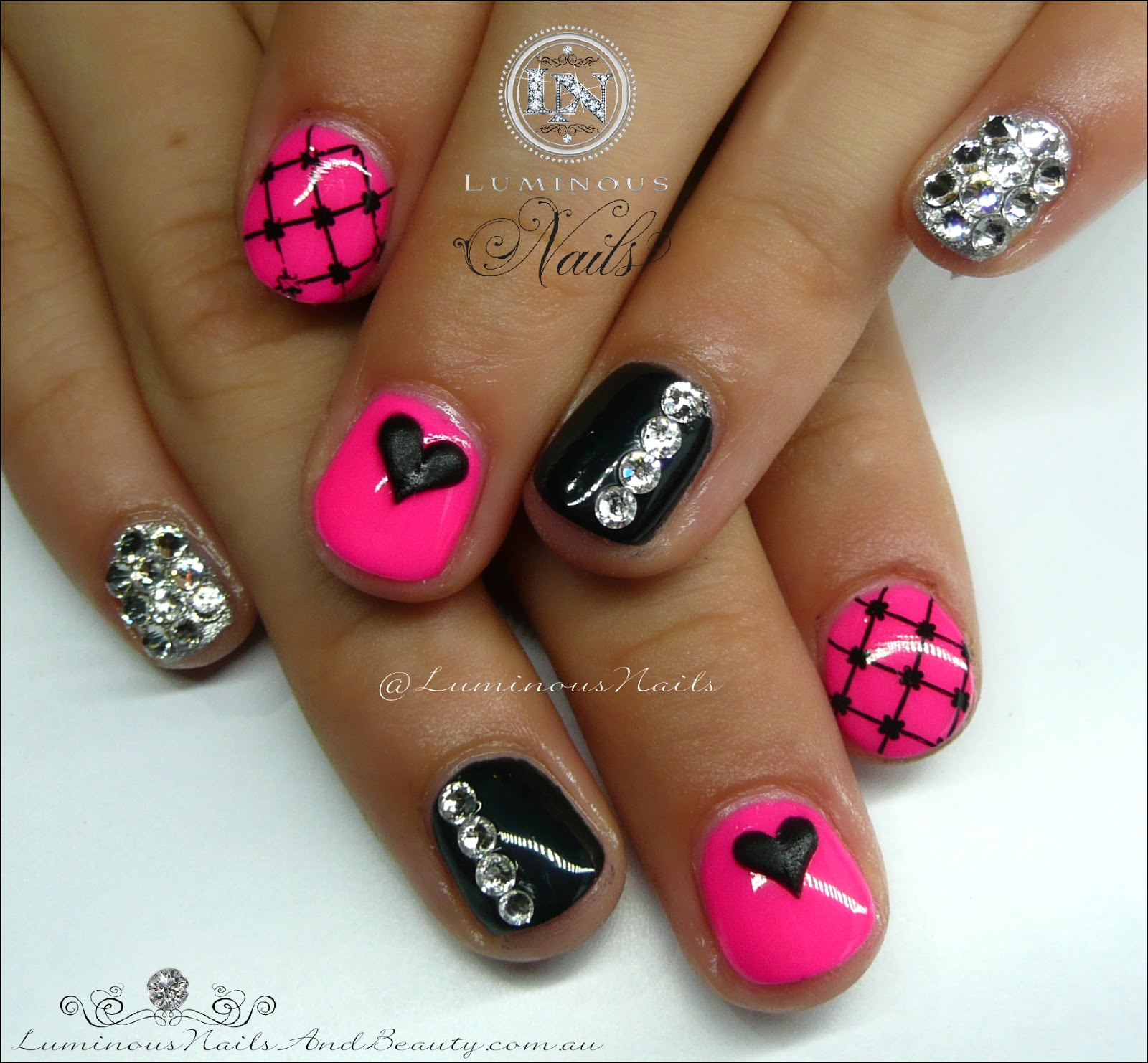 Luminous Nails: Cute Pink & Black Gel Nails for a Cute ...