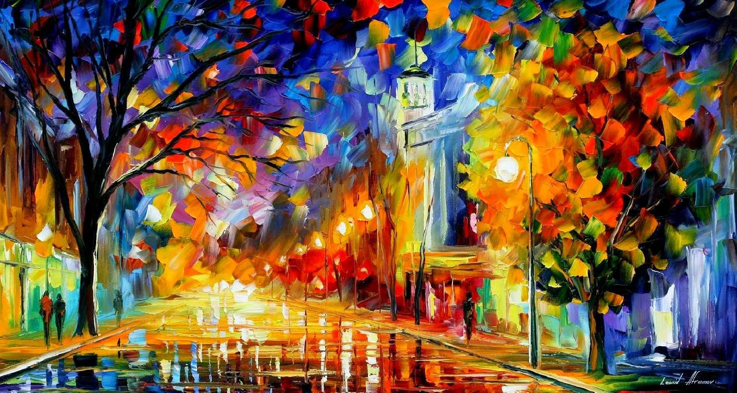 Cidade da Alegria - Pinturas de Leonid Afremov | O mestres da  espátula