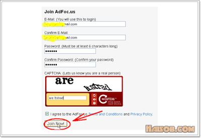 Langkah ke 3 cara daftar di Adfoc.us