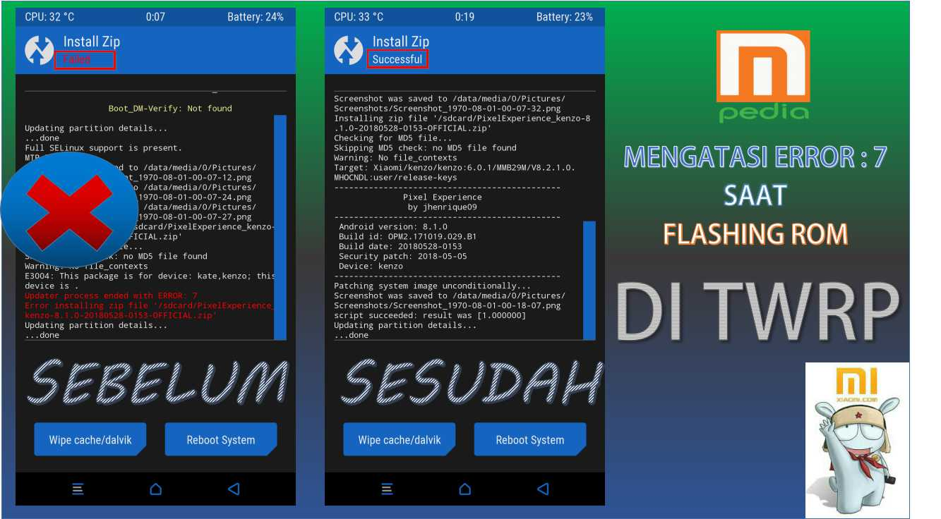"Mengatasi Masalah "" updater process ended with ERROR : 7 "" Pada saat install Custom ROM"