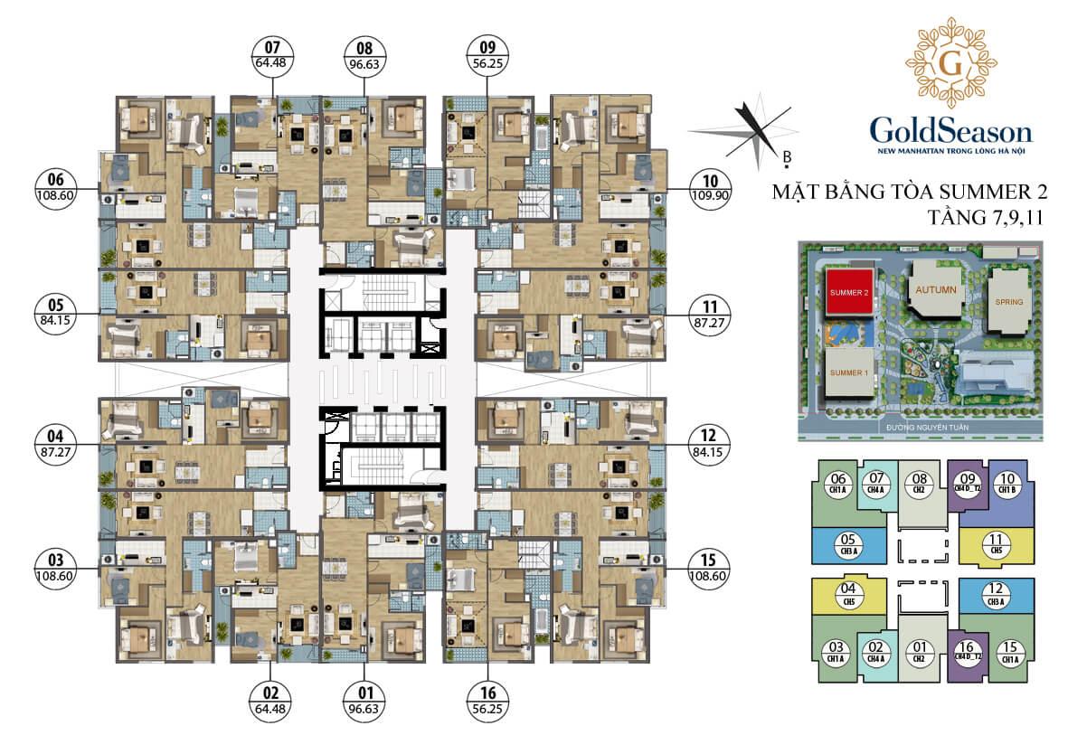 Mặt bằng điển hình tầng lẻ tòa Summer 2 - GoldSeason