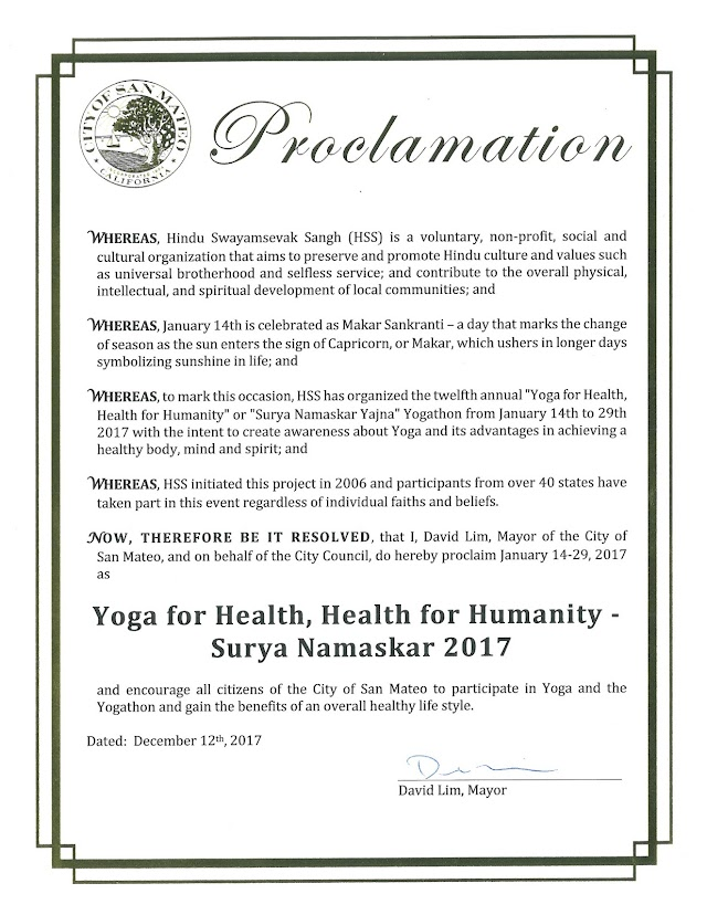 Proclamation by Mayor of City of San Mateo encouraging Yoga for Health