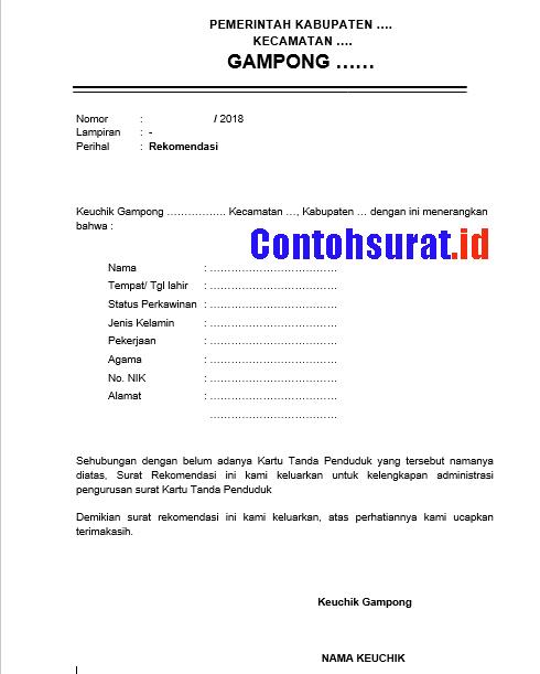 Contoh Surat Rekomendasi Belum Ada KTP dari Kepala Desa/ Keuchik