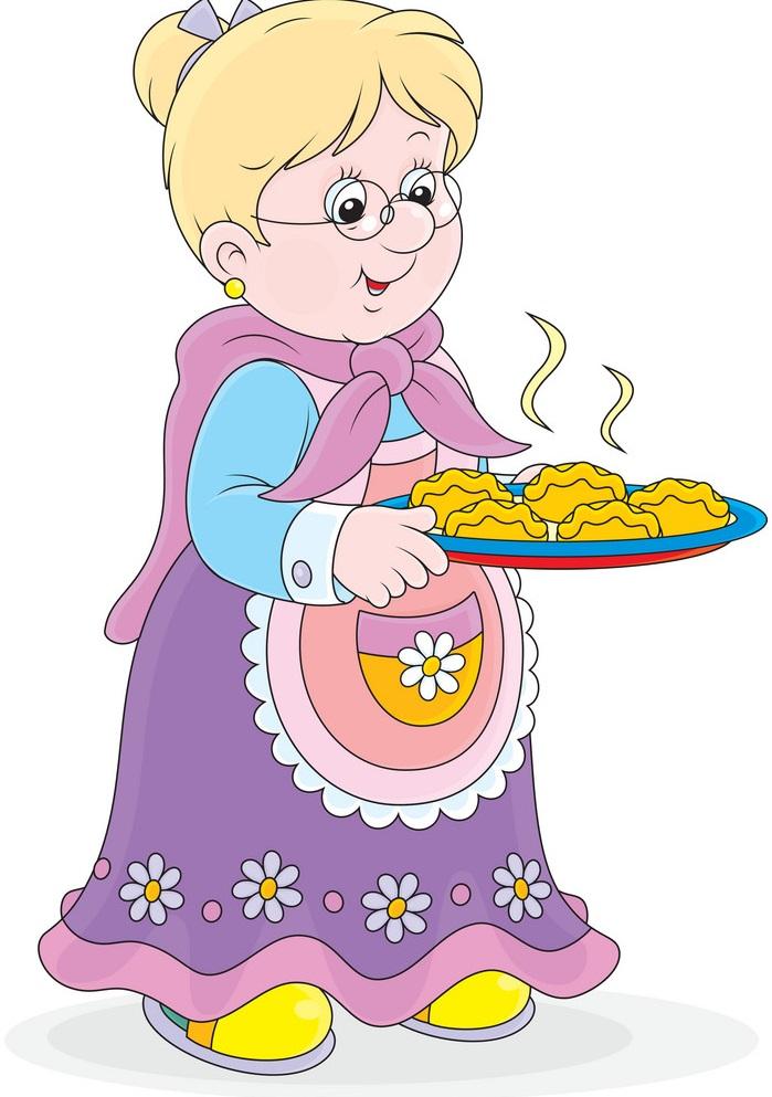 Картинка для детей бабушка репу печет в по тарелочкам кладет картинках, скрап