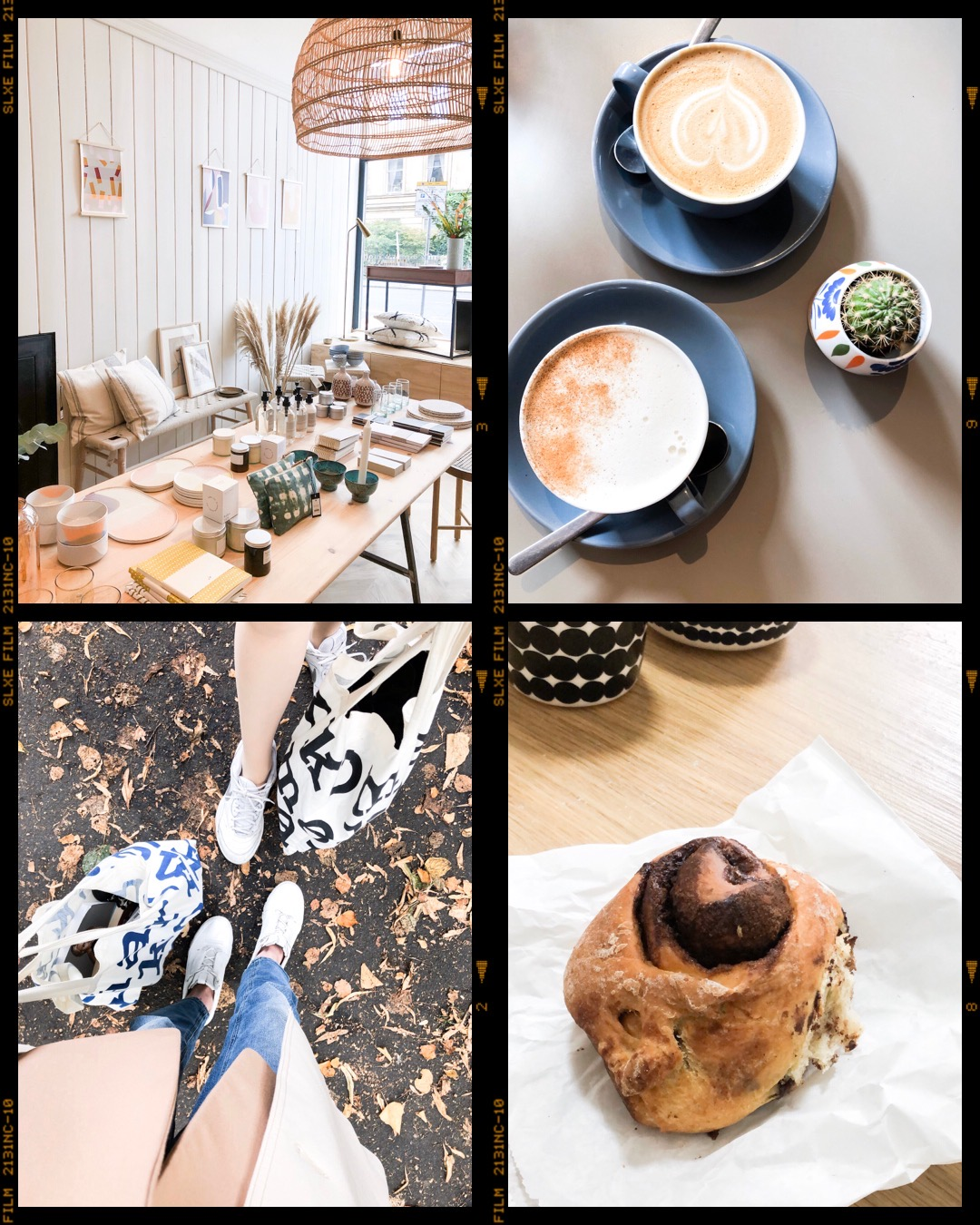 Interior boutique Glasgow, coffee and chai latte, Marimekko, vegan cinnamon bun - Sisustusputiikki Glasgow, kahvi, vegaani korvapuusti