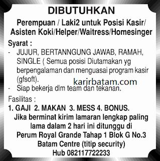 Lowongan Kerja Kasir, Koki, Helper, dan Waitress di Batam Centre