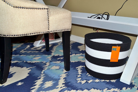Blue Ikat and Black and White Stripes