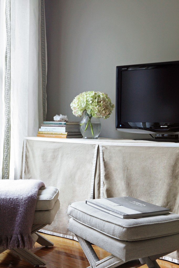 Ikea hack for Kallax shelving with slipcover as media console - found on Hello Lovely Studio