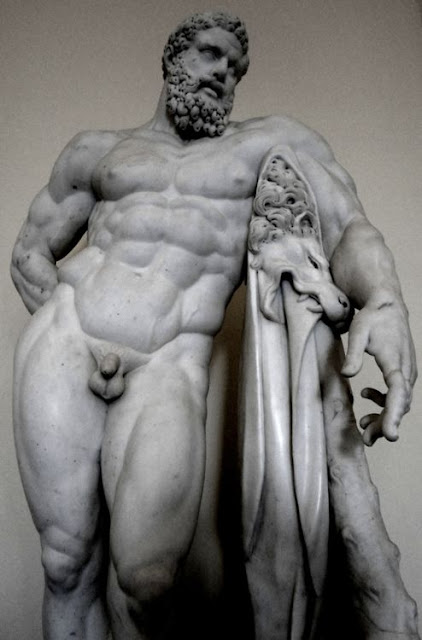 The Farnese Hercules a copy of original by Lysippos. Copy made for Baths of Carac, Rome. 261 AD