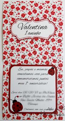 convite artesanal aniversário chá de bebê infantil jardim encantado joaninha vermelho e branco