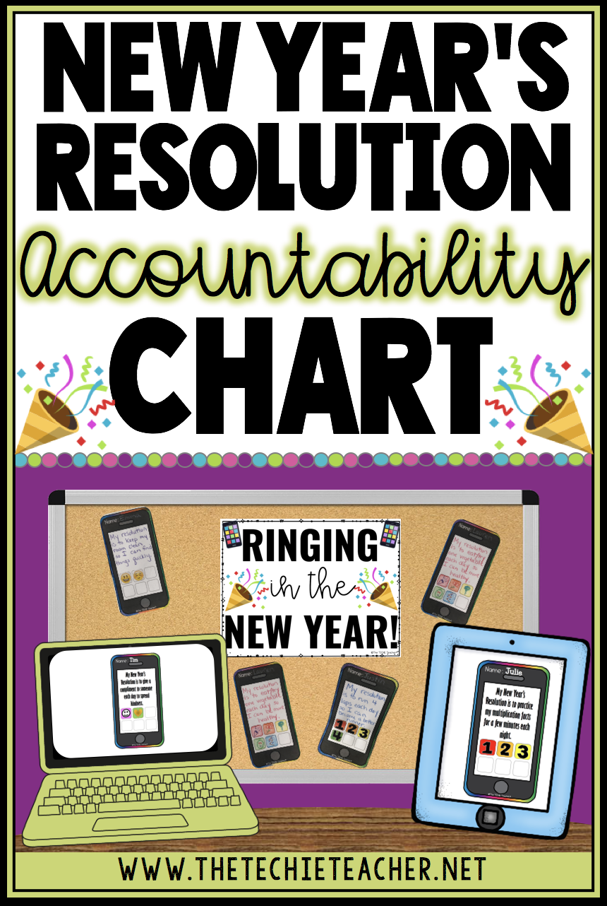 "Students will LOVE ""RINGING"" in the New Year with this FREE New Year's Resolution accountability iPhone chart. There are lots of options for keeping this activity digital/paperless or printing, cutting and hanging as a bulletin board. Students will add an app each week they keep their resolutions (for 6 weeks)."