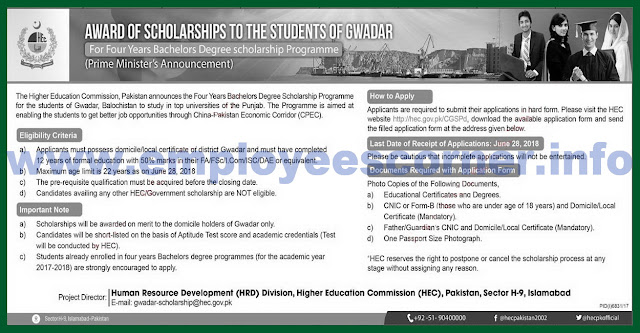 HEC The Indigenous Scholarship Program for the students of Gwadar.