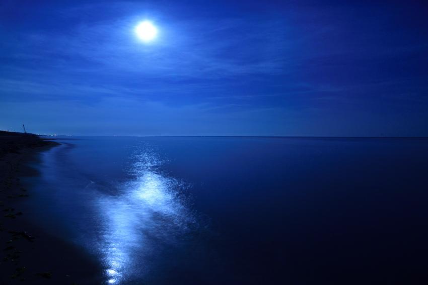 深夜の海を照らす月光