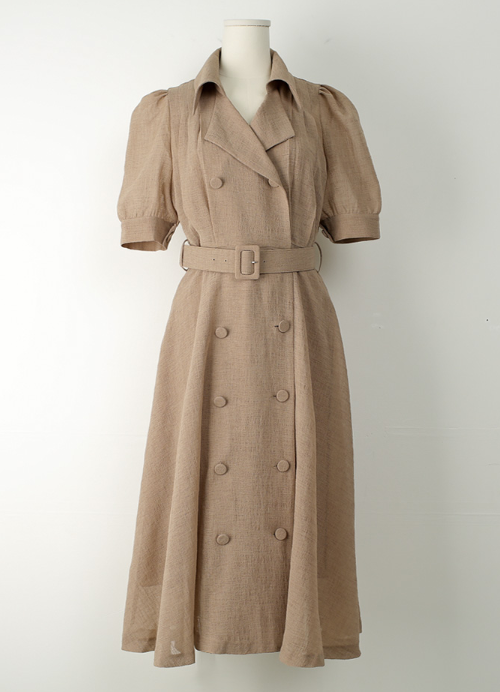 Double Button Trench Long Dress