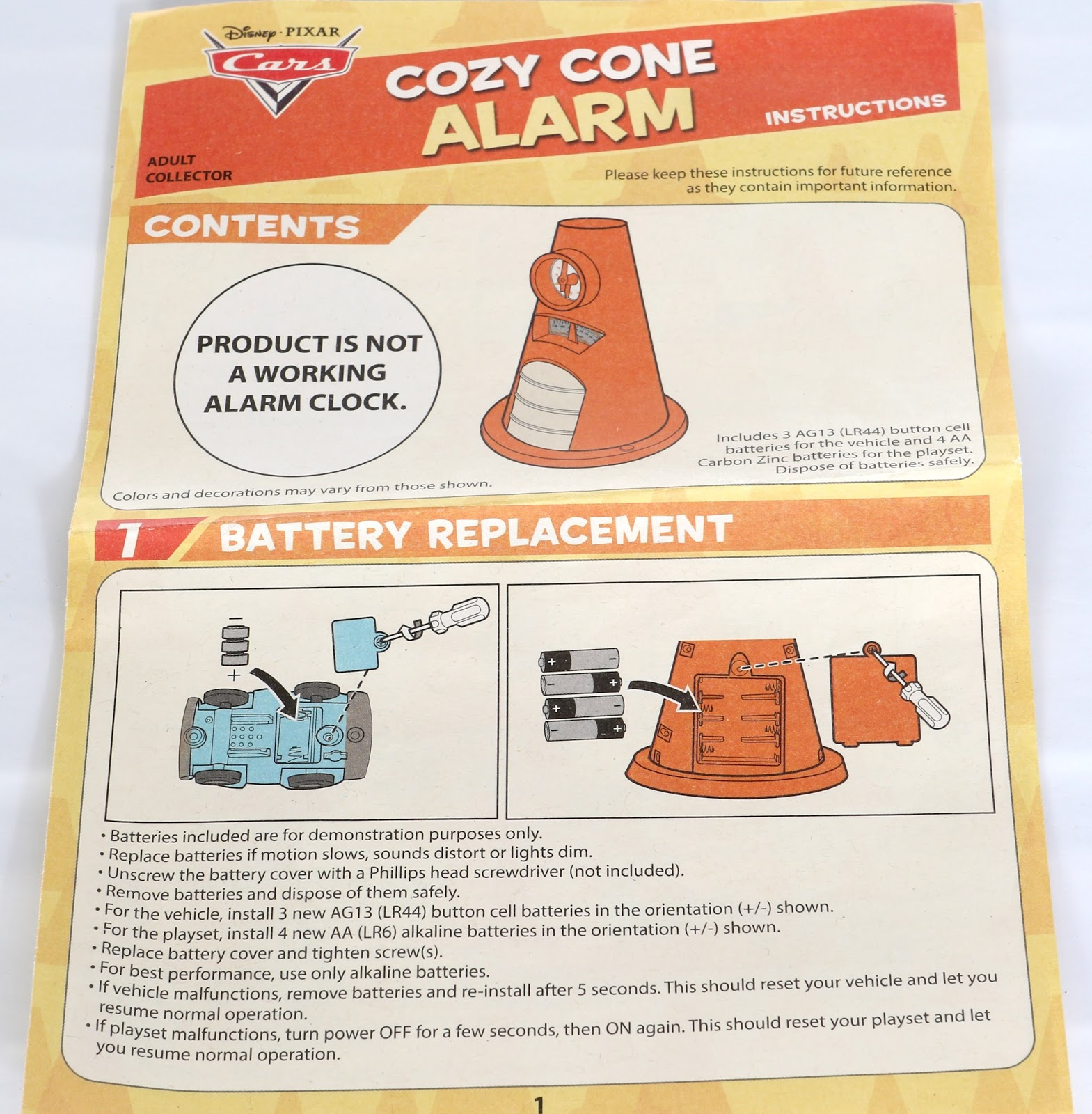 cars cozy cone alarm clock mattel d23 expo instructions