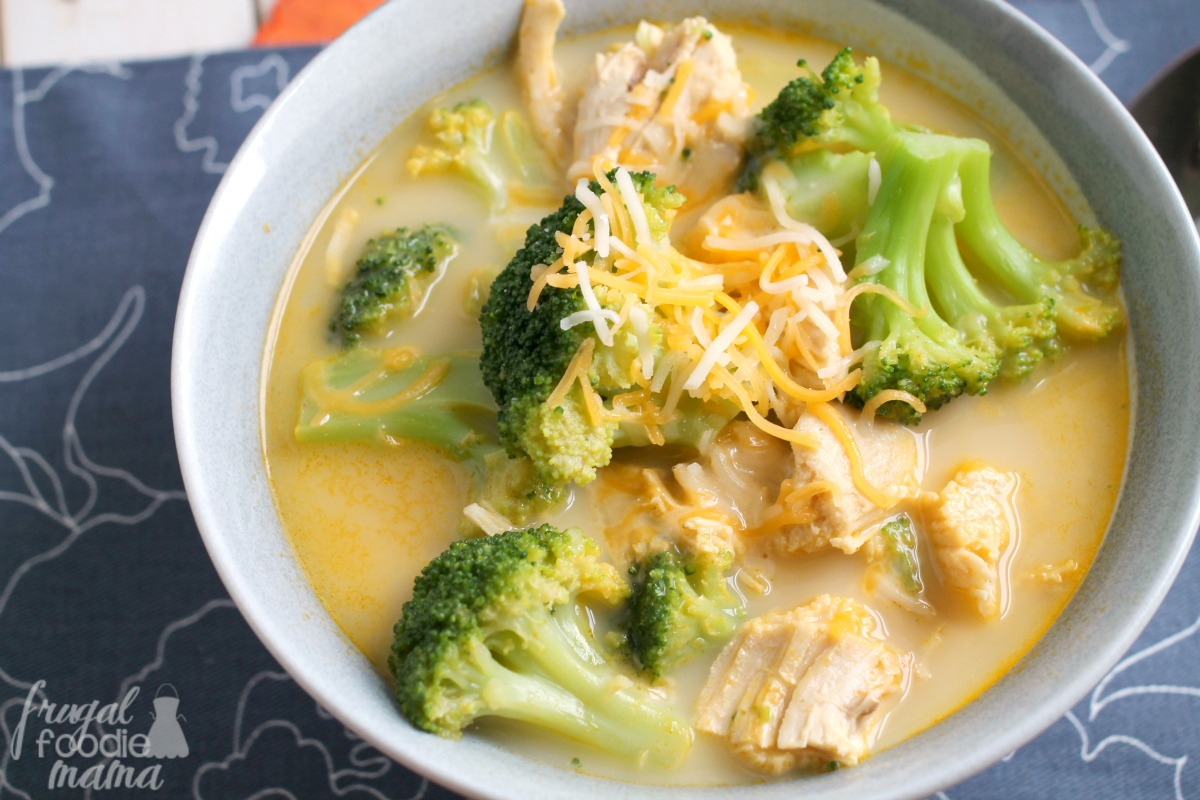 A deliciously hearty soup loaded with hunks of chicken meat with no antibiotics, broccoli and potato Packaged in a oz., non-BPA-lined can.