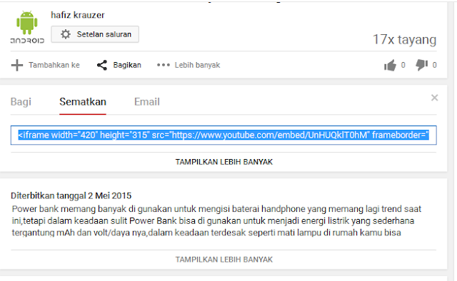 Cara Memasukkan Video Dari Youtube Di Blog
