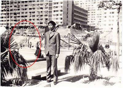 從一張70年代的舊照片可見,怪石(紅圈內)已屹立在公園相同位置至少40年