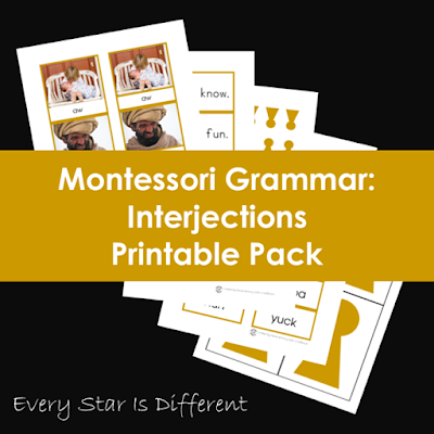 Montessori Grammar: Interjections Printable Pack