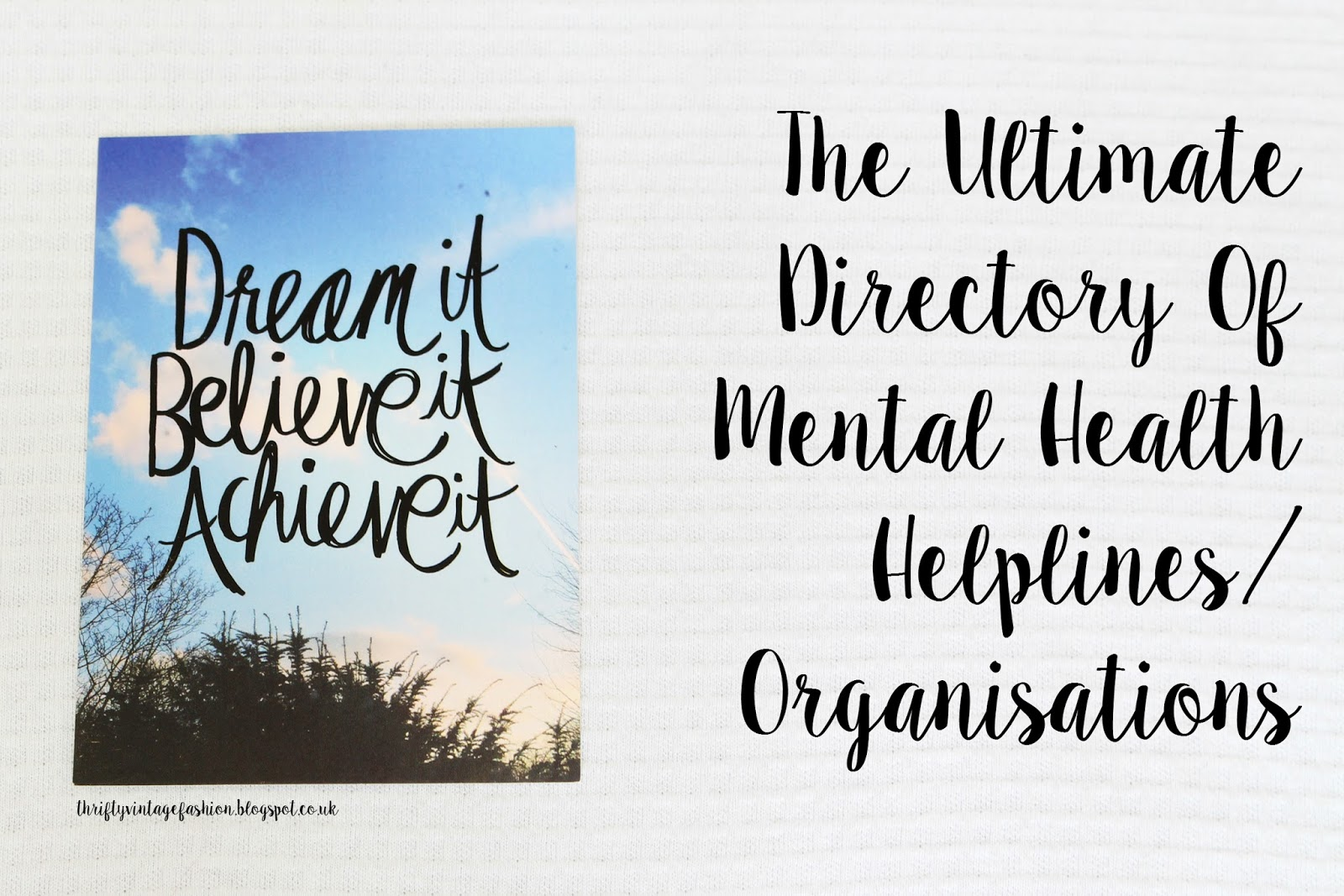 The Ultimate Directory Of Mental Health Helplines/ Organisations support mental illness depression OCD PSTD GAD