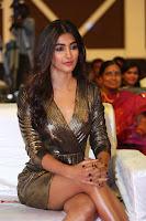 Pooja Hegde looks glamarous in deep neck sleevless short tight golden gown at Duvvada Jagannadham thank you meet function 134.JPG