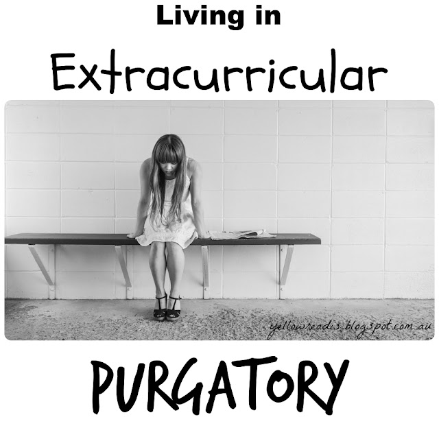 "Picture via Pixabay. Desc. Image ""Sad women on bench in tiled room."" Text ""Living in Extracurricular Purgatory"""