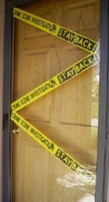 Front Door Crime Scene | www.BakingInATornado.com |  #Halloween