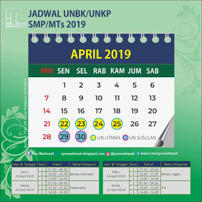 Jadwal UNBK/UNKP SMP/MTs 2019
