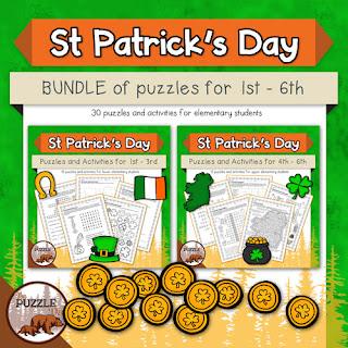 The Puzzle Den - St Patrick's Day BUNDLE for grades 1-6