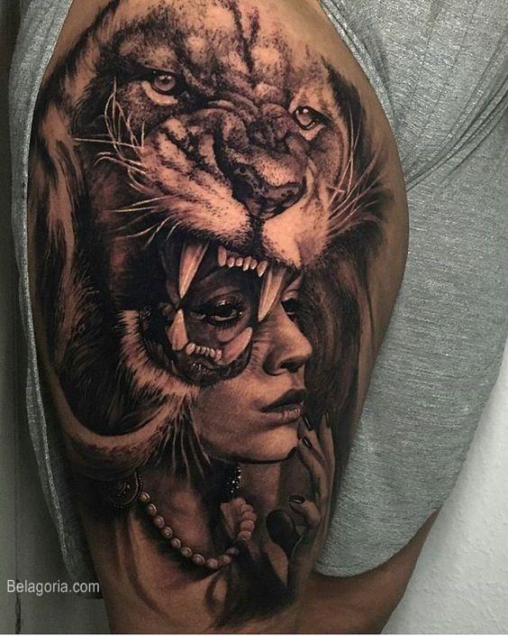 tatuaje de león y guerrera