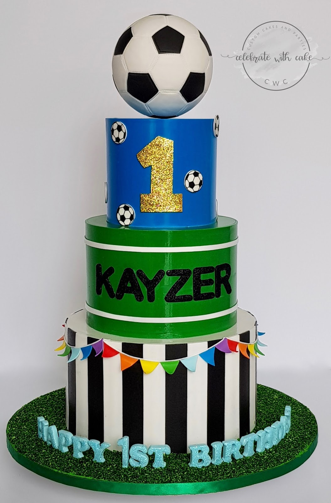Celebrate With Cake Soccer Themed 1st Birthday 3 Tiers