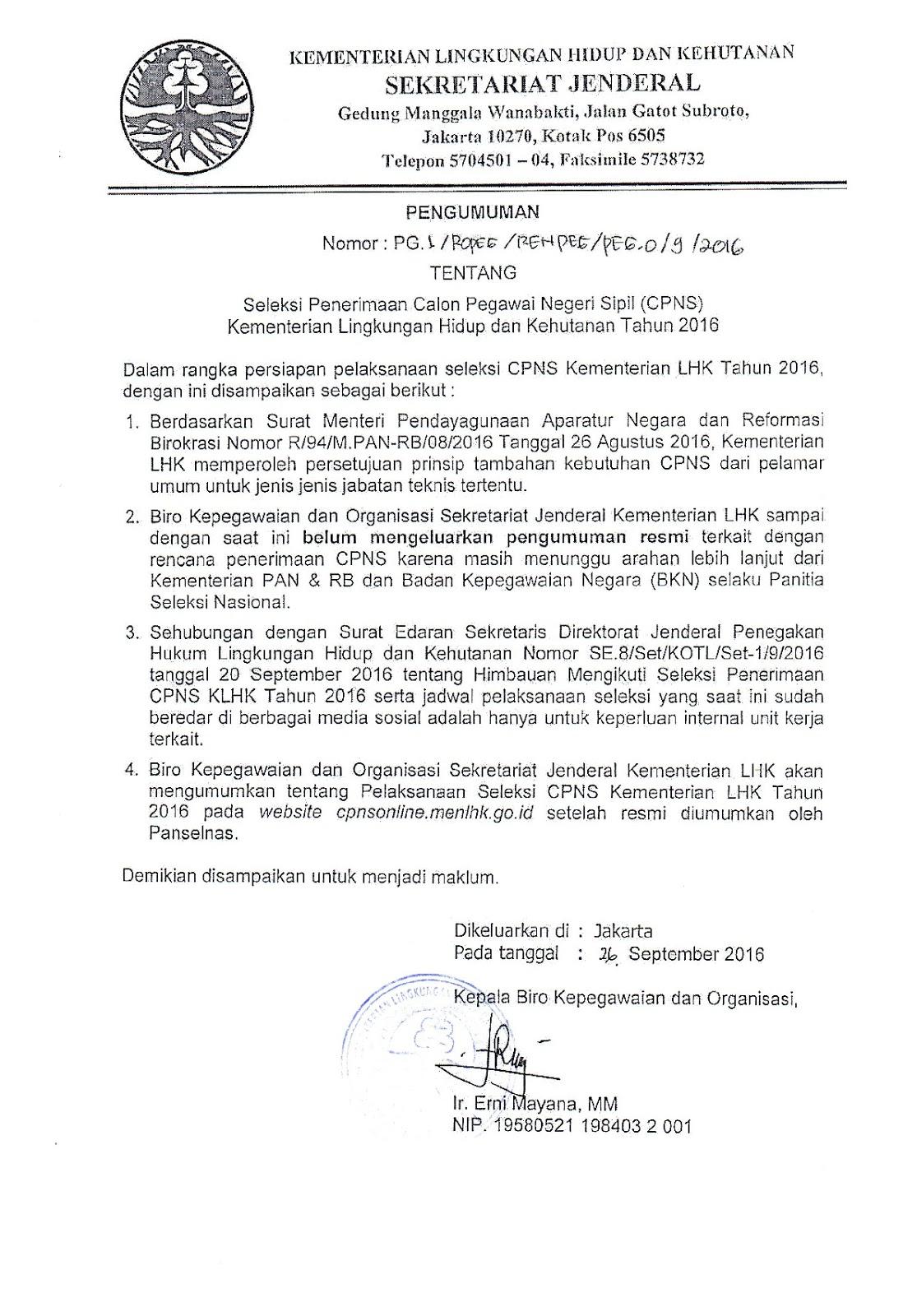 Seleksi Cpns Kementerian Lingkungan Hidup Dan Kehutanan