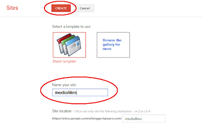 Naming a Google Sites website for Blogger mp3 files