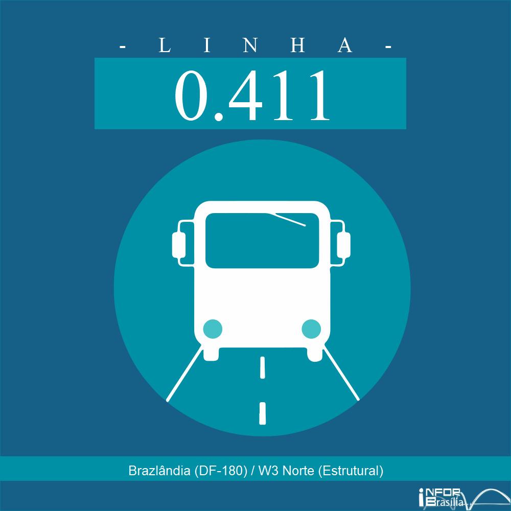 Horário de ônibus e itinerário 0.411 - Brazlândia (DF-180) / W3 Norte (Estrutural)