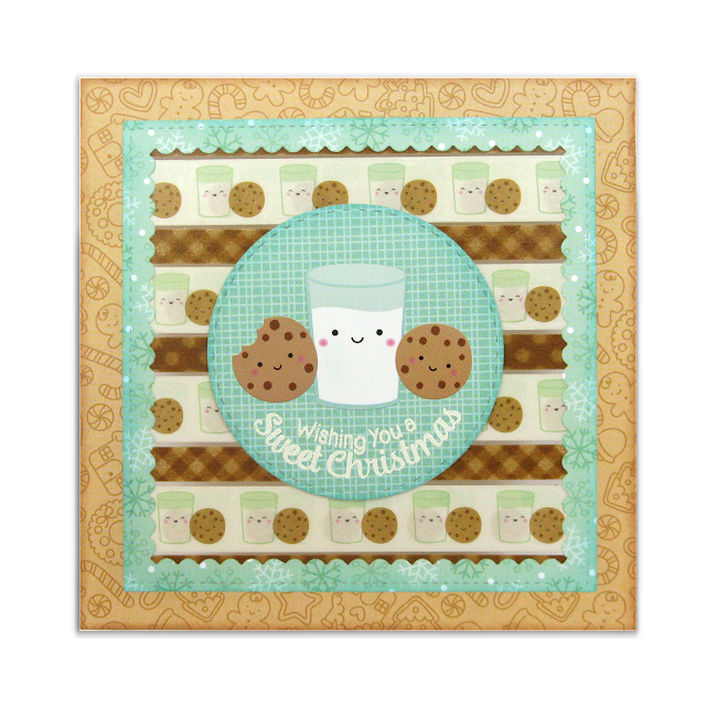 Doodlebug Design Milk & Cookie Washi Tape Holiday Christmas Card by Mendi Yoshikawa