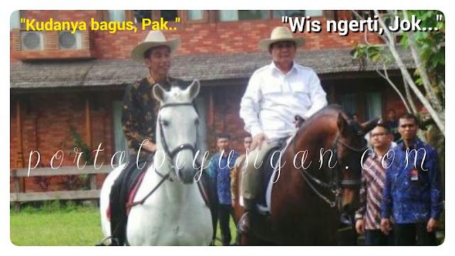 Ketika Jokowi Naik Kuda Milik Prabowo, Netizen: Jokower pun Mingkem