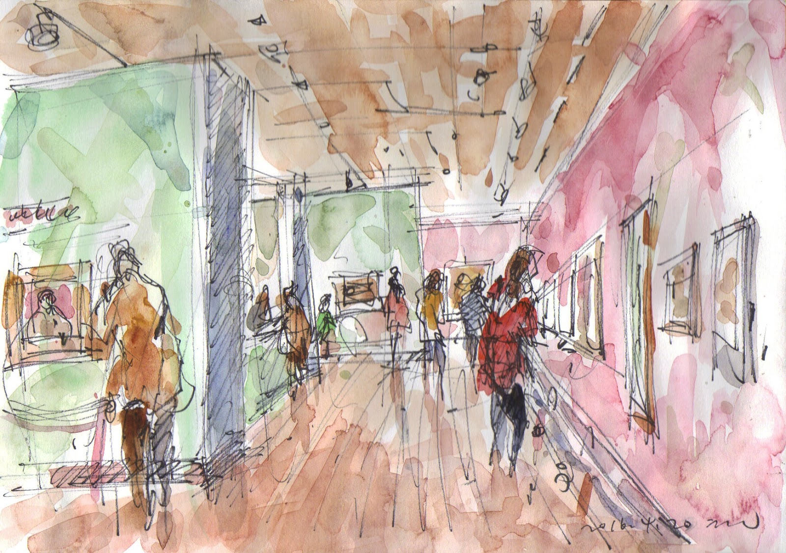 Exhibition Stall Sketch : Seoul urban sketchers sketches at deoksugung art museum