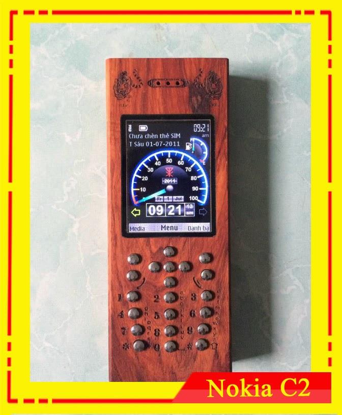 Vỏ gỗ điện thoại C2-02. Gỗ Hương. M9