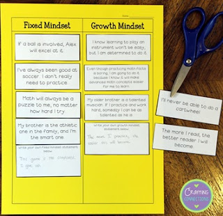 Help students differentiate between growth mindset statements and fixed mindset statements with this FREE sorting activity!