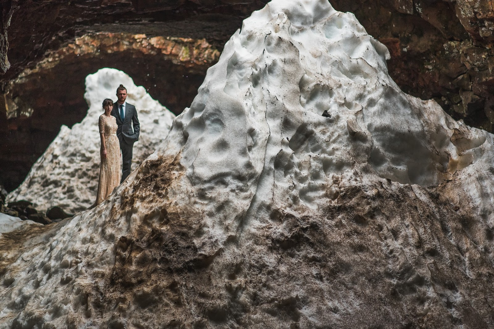 Icelandic Elopement at the Raufarholshellir Lava Tube Cave