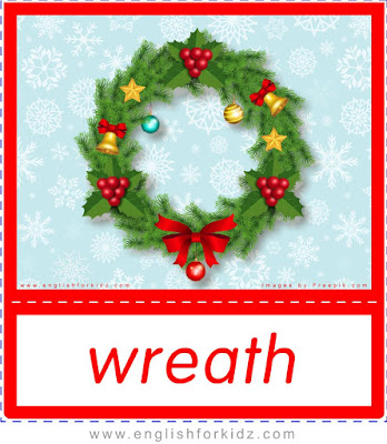 Christmas wreath - printable X-mas flashcards