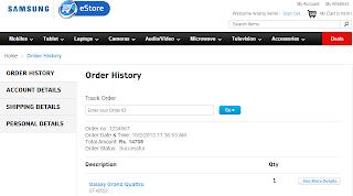My final order screen