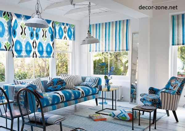 blue curtains, living room curtain ideas