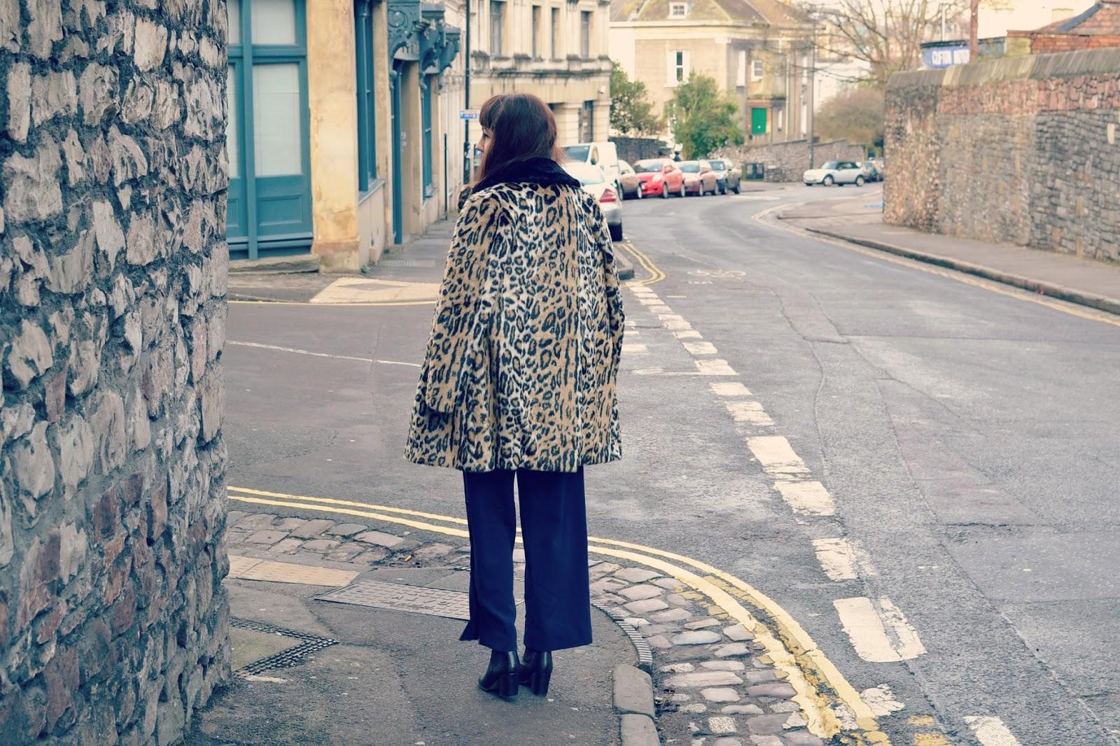 Topshop Megan boots Topshop leopard print faux fur coat ASOS navy culottes