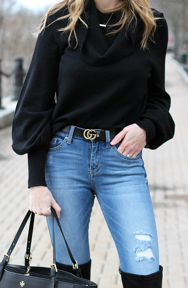 Black cowl neck sweater #cowlneck #softsweater