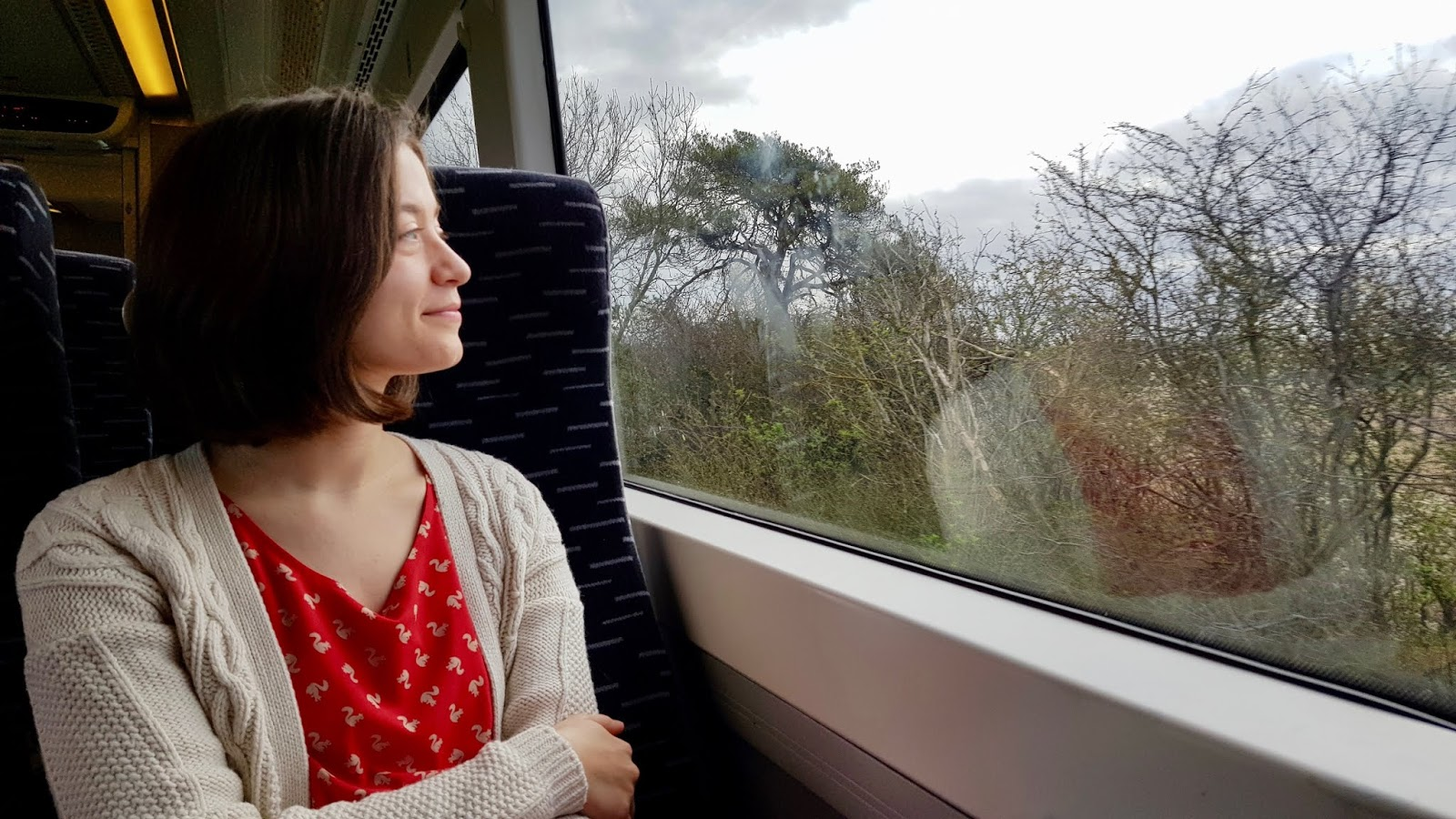 Abbey sitting on a Greater Anglia train, looking out of the window at the Suffolk countryside